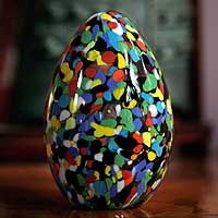 Handblown art glass paperweight, 'Confetti Egg' - Murano Inspired handblown paperweight