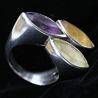 Amethyst and citrine 3 stone ring, 'Trilogy' - Amethyst and citrine 3 stone ring