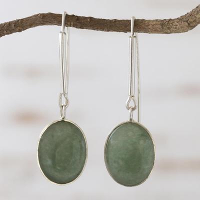 Green quartz dangle earrings, 'Cool Glade' - Green quartz dangle earrings