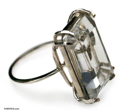 Quartz and Diamond Cocktail Ring