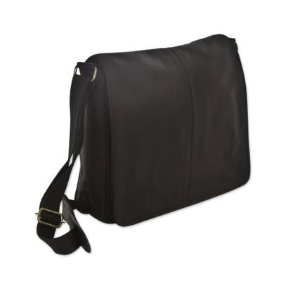 Black Leather Laptop Case Hand Crafted in Brazil