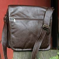 Leather shoulder bag, 'Always Maroon' - Leather shoulder bag