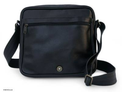 Leather shoulder bag, 'Always Black' - Leather shoulder bag