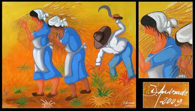 'Simple Life' - Wheat Harvest Brazil Fine Art Original Folk Painting