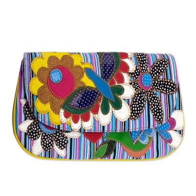 Novica Cotton clutch purse, Springs Arrival