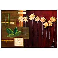 'Panel of Flowers' - Floral Panel Brazil Fine Art Still Life Painting