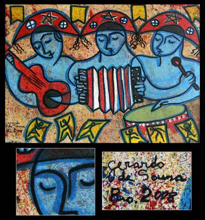 'Northeastern Trio' - Dance and Music Naif Painting