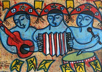 'Northeastern Trio' - Dance and Music Naif Painting