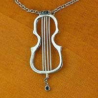 Onyx pendant necklace, 'Violin' - Onyx pendant necklace