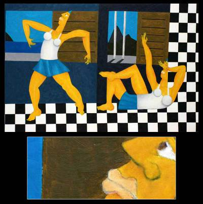 'Dance in Ipanema' - Cubist Painting from Brazil