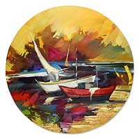 'Boats in Cabo Frio' (2009) - Landscape Expressionist Round Painting
