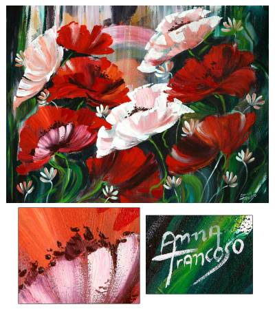 'Poppies' - Floral Impressionist Painting from Brazil