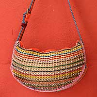 Soda pop-top shoulder bag, 'Rainbow Wishes' - Hand Crafted Recycled Aluminum Shoulder Bag