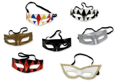 Leather masks, 'Colombina' (set of 7) - Leather masks (Set of 7)