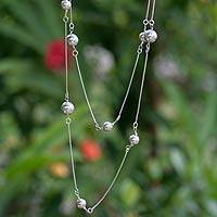 "Sterling silver long strand necklace, 'Harmony' - Handmade Long 34"" Sterling Silver Necklace with Spheres"