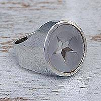 Quartz cocktail ring, 'Star of Venus' - Handmade Star Sterling Silver Signet Quartz Ring