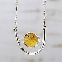 Citrine pendant necklace, 'Star of Venus' - Citrine pendant necklace