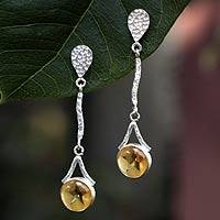 Citrine dangle earrings, 'Star of Venus' - Citrine dangle earrings