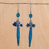 Sodalite cluster earrings, 'Hope' - Recycled Paper and Sodalite Dangle Earrings