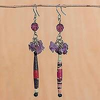Amethyst dangle earrings, 'Hope' - Recycled Paper and Amethyst Dangle Earrings