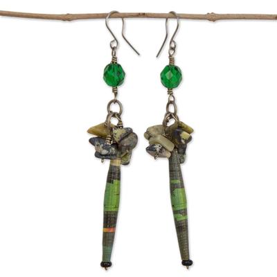 Serpentine cluster earrings, 'Hope' - Serpentine and Recycled Paper Dangle Earrings
