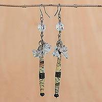 Quartz cluster earrings, 'Hope' - Handmade Recycled Paper and Quartz Earrings