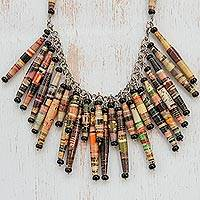 Recycled paper waterfall necklace, 'Cascade' - Eco-Friendly Glass and Recycled Paper Necklace from Brazil
