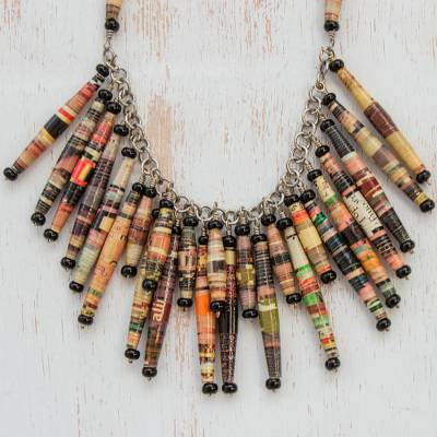 Recycled paper waterfall necklace, 'Cascade' - Hand Made Brazilian Recycled Paper Waterfall Necklace