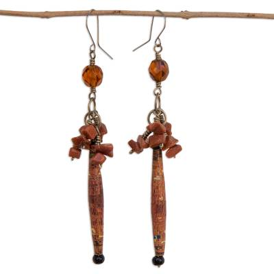 Sunstone cluster earrings, 'Novel' - Brazil Recycled Paper and Sunstone Earrings