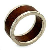 Men's wood and sterling silver ring, 'Forest Halo'
