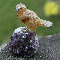 Fluorite and amethyst statuette, 'Beloved Canary' - Handcrafted Gemstone Sterling Silver Bird Sculpture