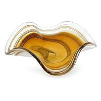 Art glass centerpiece, 'Amber Eloquence' - Murano Style Handblown Art Glass Centerpiece