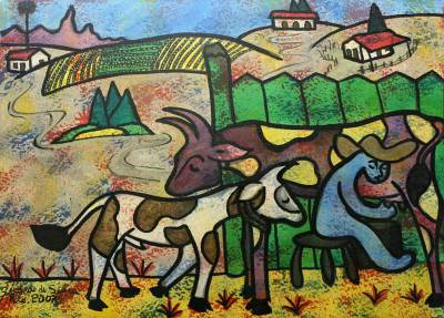 'Milking' - Brazilian Landscape Original Painting