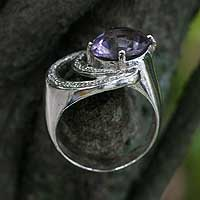 Amethyst cocktail ring, 'Tantalize' - Amethyst cocktail ring