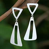 Sterling silver dangle earrings, 'Lovingly' - Sterling silver dangle earrings