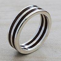 Sterling silver band ring, 'The Race' - Handcrafted Wood and Sterling Silver Band Ring