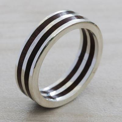Sterling silver band ring, 'The Race' - Sterling Silver and Wood Band Ring