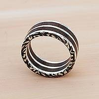 Men's sterling silver band ring, 'Forest Vines' - Brazilian Men's Handcrafted Wood and Sterling Silver Ring