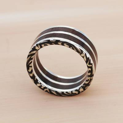 Men's sterling silver band ring, 'Forest Vines' - Men's Sterling Silver and Wood Band Ring
