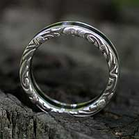 Men's sterling silver band ring, 'Forest' - Men's Unique Sterling Silver and Wood Band Ring