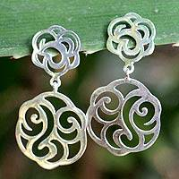 Sterling silver floral earrings, 'Summer Rose' - Floral Sterling Silvery Earrings