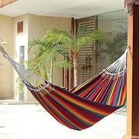 Cotton hammock, 'Brazilian Rainbow' (double) - Cotton Striped Fabric Hammock (Double)