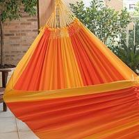 Cotton hammock, 'Brazilian Summer' (double) - Fair Trade Cotton Hammock from Brazil (Double)