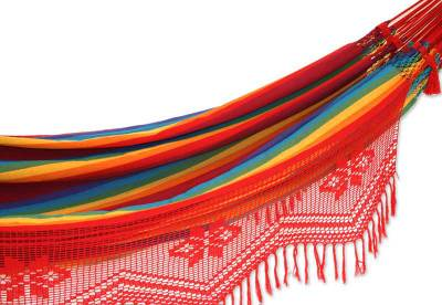 Cotton hammock, 'Icarai Rainbow' (double) - Fine Cotton Hammock Rainbow Red Crocheted (Double)