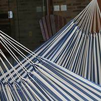 Cotton hammock, 'Maritime Brazil' (single) - Fair Trade Brazilian Handcrafted Cotton Striped Hammock