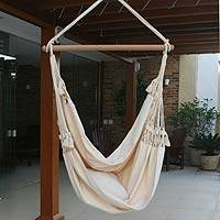 Cotton hammock swing, 'Life's a Balance' - Cotton Swing Hammock from Brazil