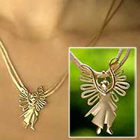 Gold pendant necklace, 'Michael Archangel' - Gold pendant necklace