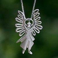 Sterling silver pendant necklace, 'Michael Archangel' - Artisan Crafted Sterling Silver Angel Necklace