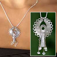 Diamond pendant necklace, 'Angel Raphael' - Sterling Silver and Diamond Pendant Necklace