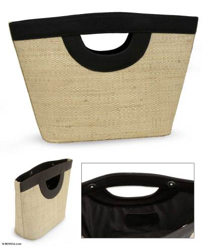 Buriti palm tote bag, 'Dazzling Rio' - Leather Accent and Palm Leaf Clutch Bag